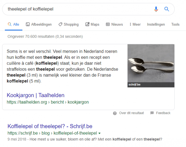 featured snippets koffielepel 1